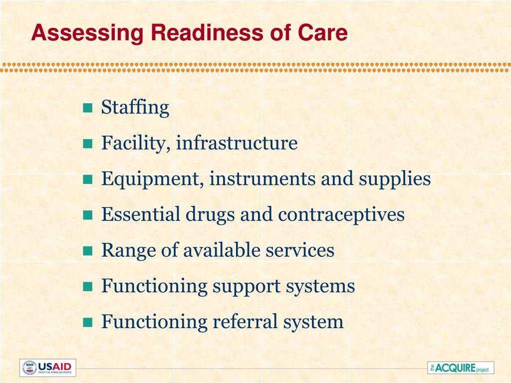 Assessing Readiness of Care