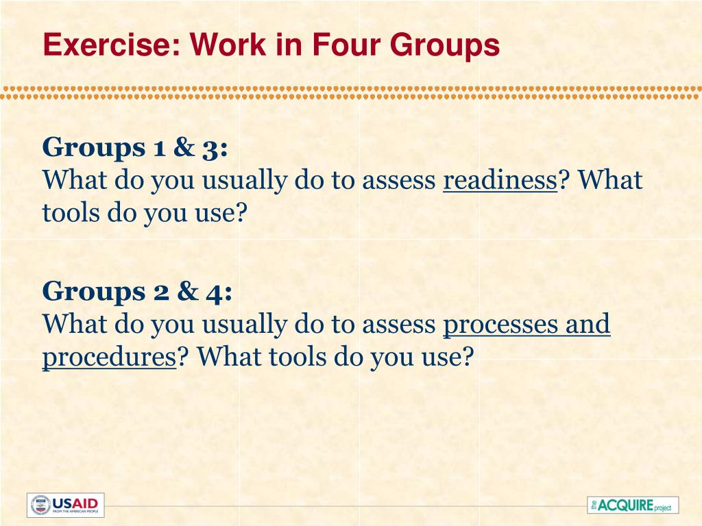 Exercise: Work in Four Groups