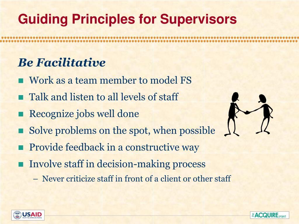 Guiding Principles for Supervisors
