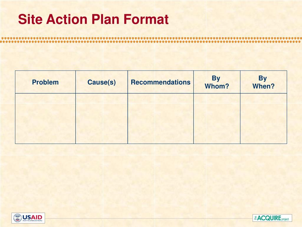 Site Action Plan Format