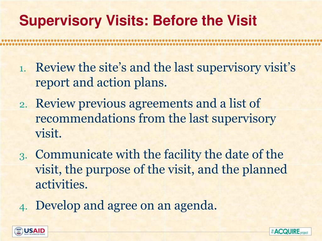 Supervisory Visits: Before the Visit