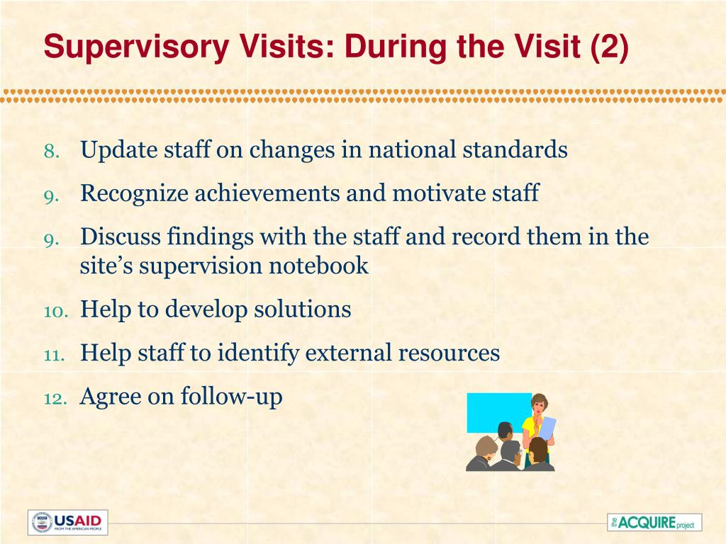 Supervisory Visits: During the Visit (2)