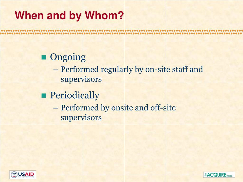 When and by Whom?