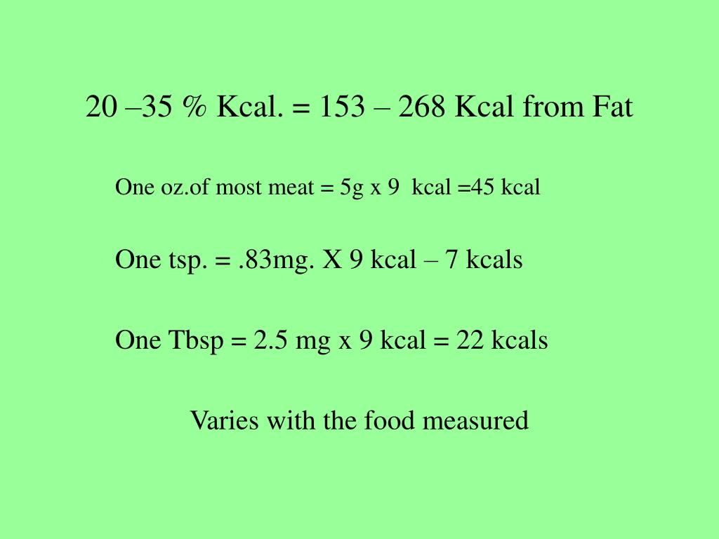 20 –35 % Kcal. = 153 – 268 Kcal from Fat