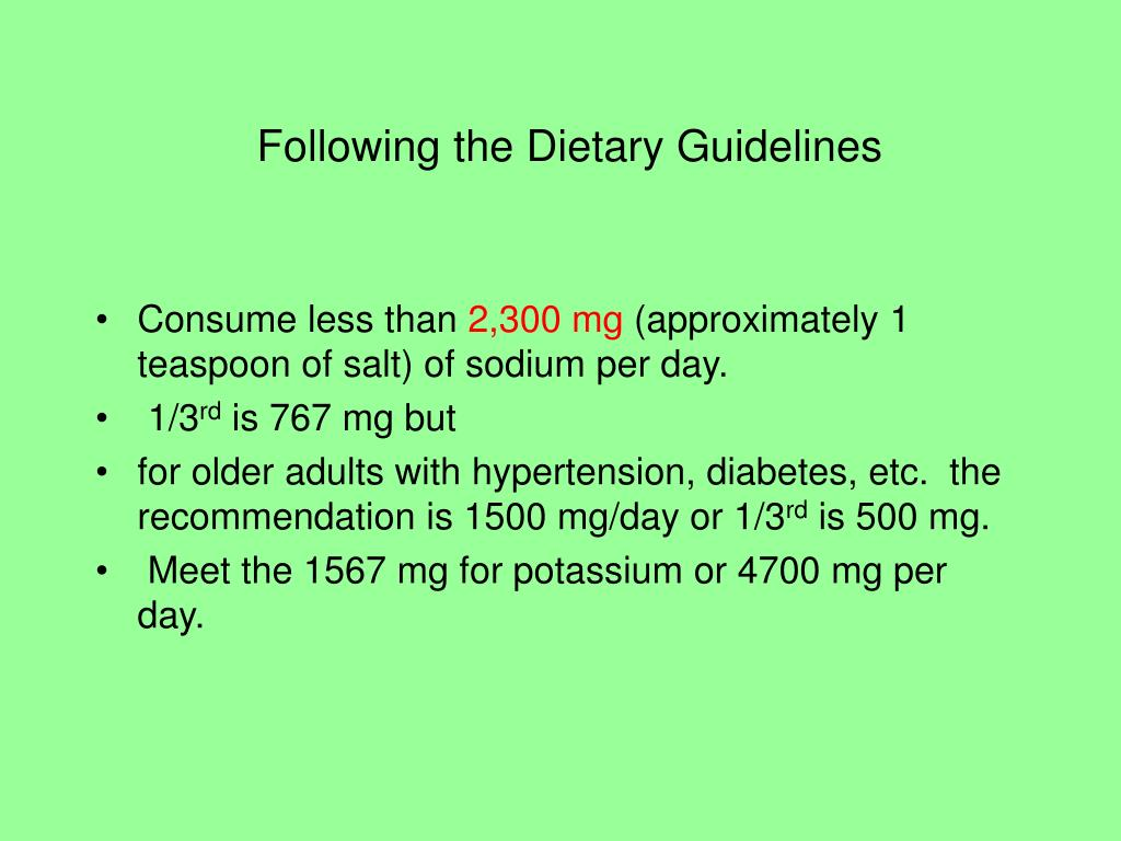 Following the Dietary Guidelines