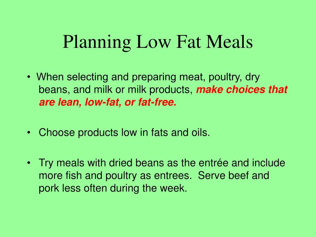 Planning Low Fat Meals