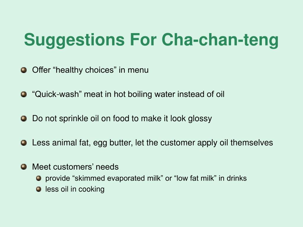 Suggestions For Cha-chan-teng