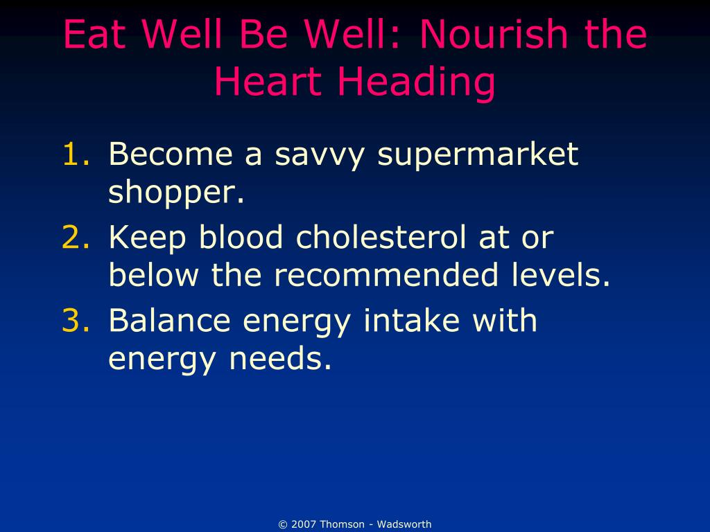 Eat Well Be Well: Nourish the Heart Heading