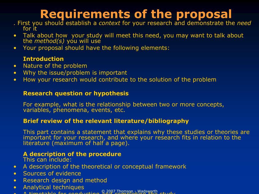 Requirements of the proposal