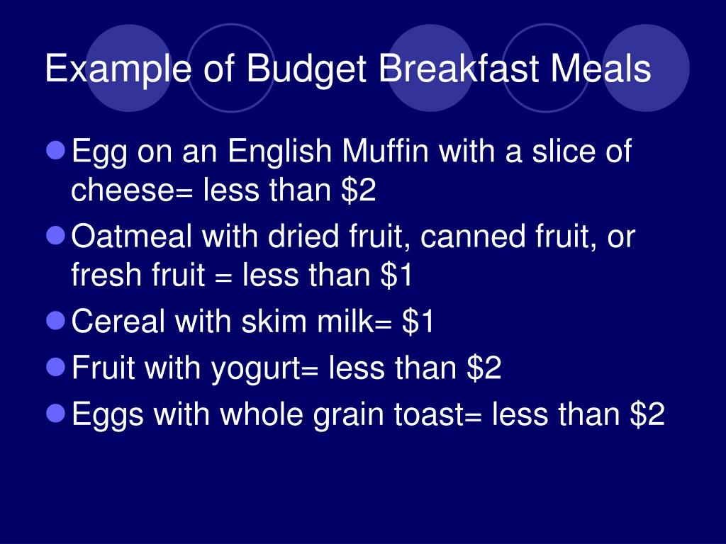 Example of Budget Breakfast Meals
