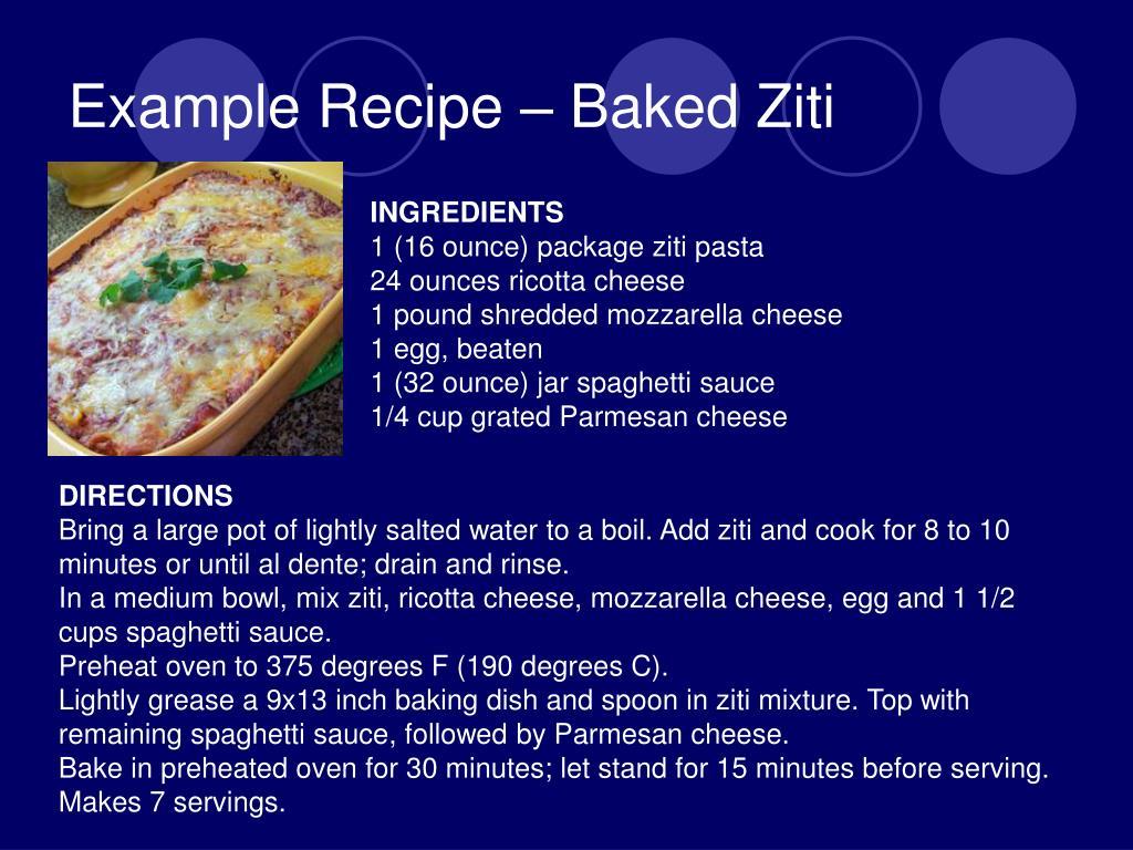 Example Recipe – Baked Ziti