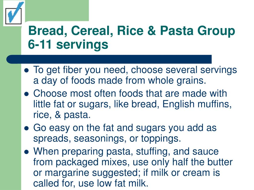 Bread, Cereal, Rice & Pasta Group