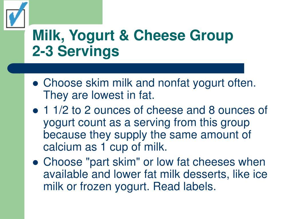 Milk, Yogurt & Cheese Group