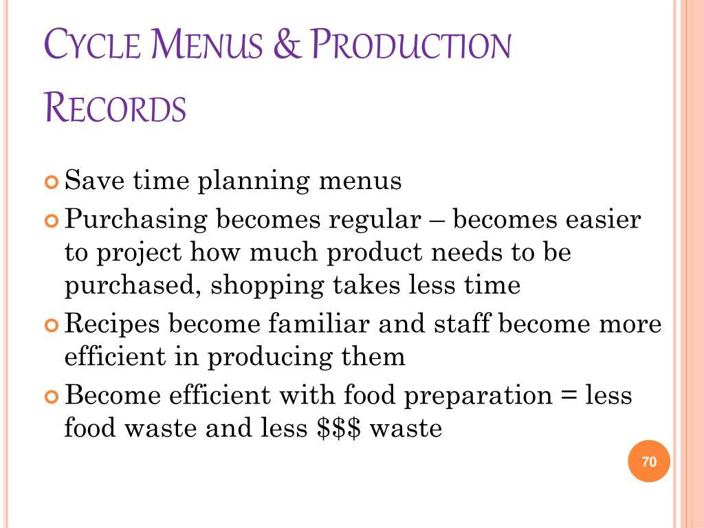 Cycle Menus & Production Records