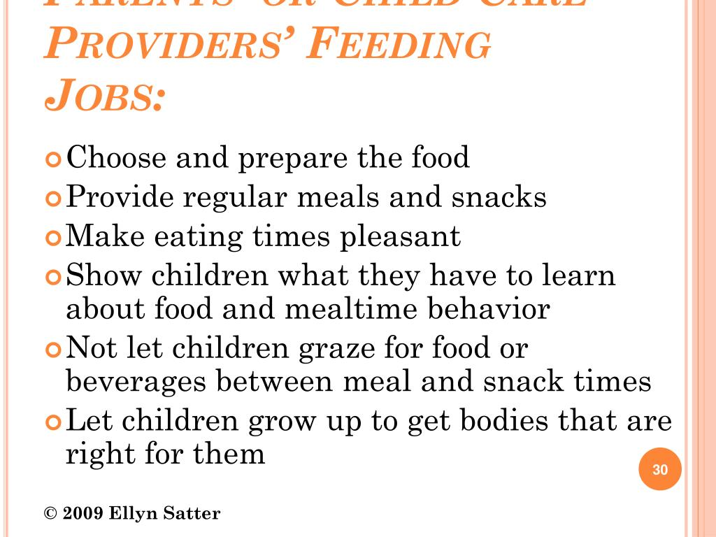 Parents' or Child Care Providers' Feeding Jobs: