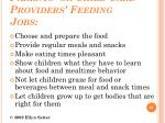 parents or child care providers feeding jobs