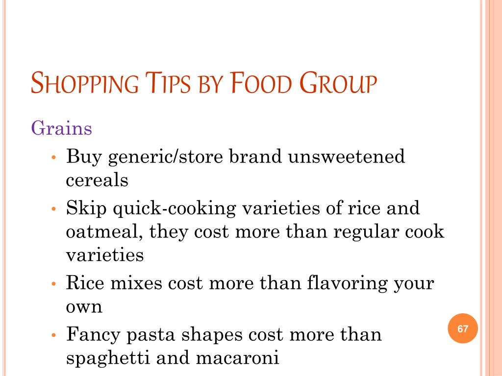 Shopping Tips by Food Group