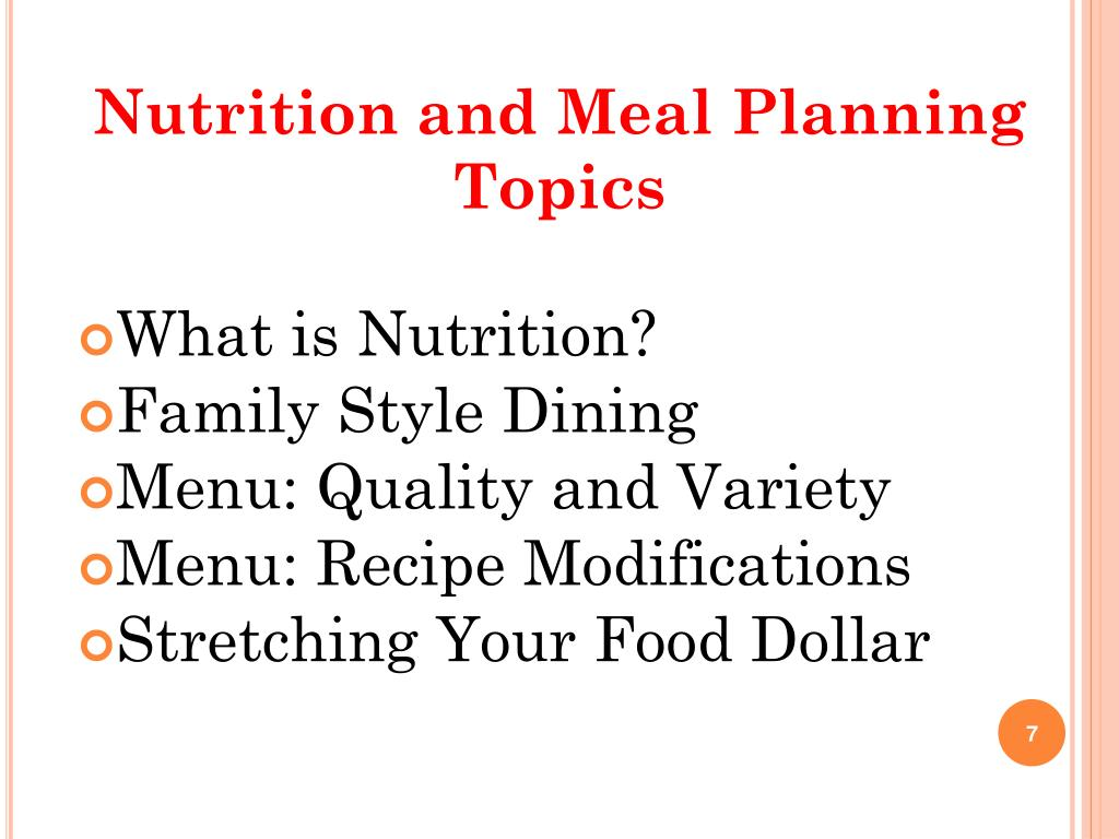 Nutrition and Meal Planning Topics