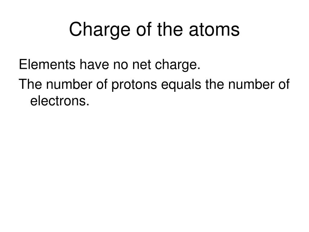 Charge of the atoms