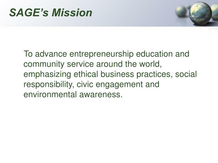 SAGE's Mission