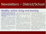 newsletters district school