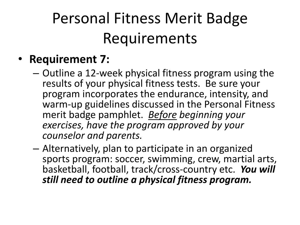 Personal Fitness Merit Badge Requirements