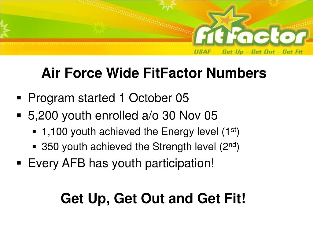 Air Force Wide FitFactor Numbers