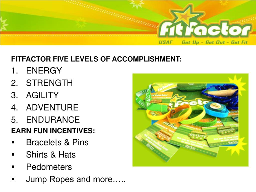 FITFACTOR FIVE LEVELS OF ACCOMPLISHMENT: