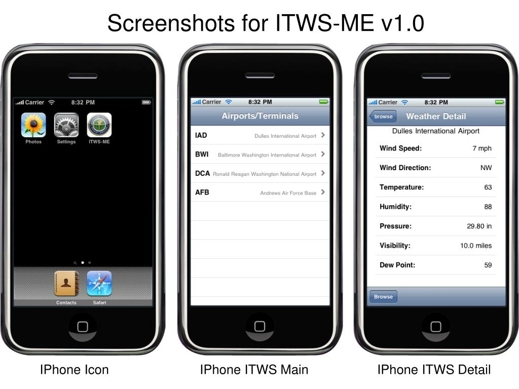Screenshots for ITWS-ME v1.0