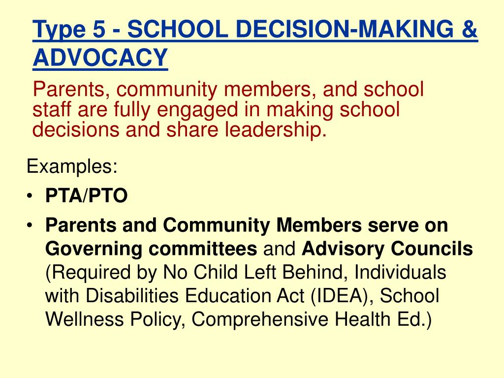 Parents, community members, and school staff are fully engaged in making school decisions and share leadership.