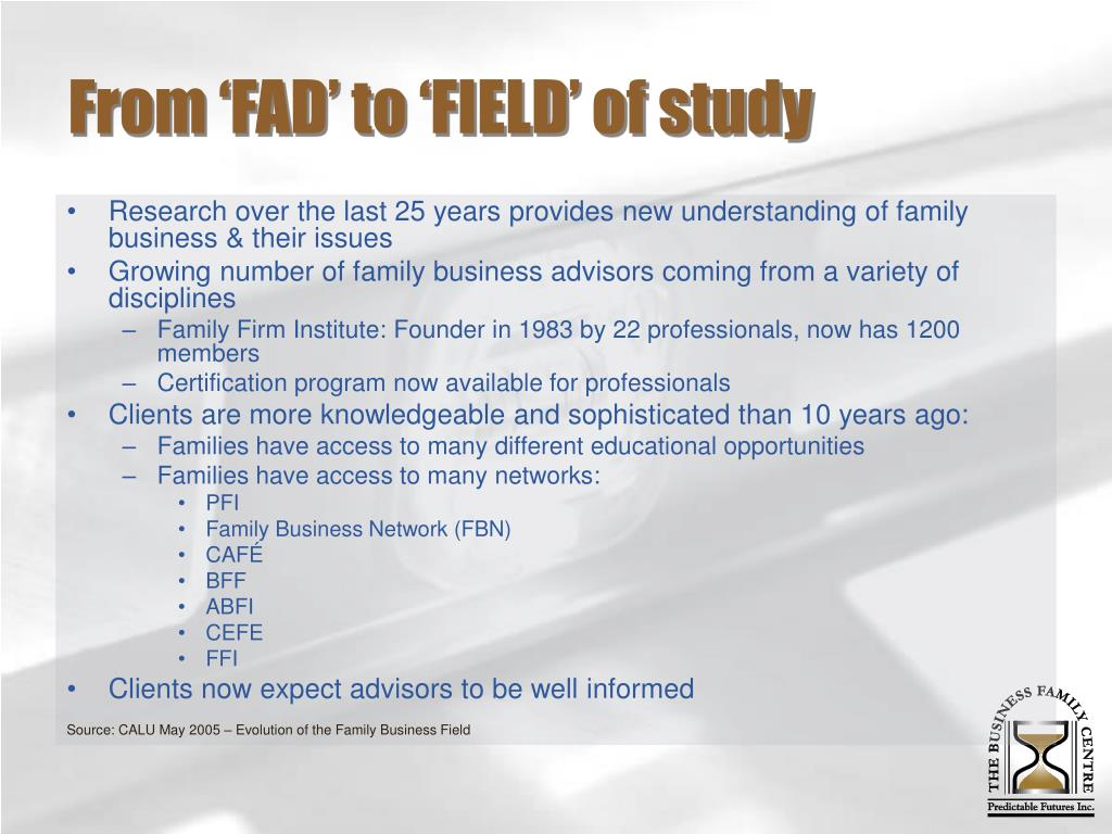From 'FAD' to 'FIELD' of study