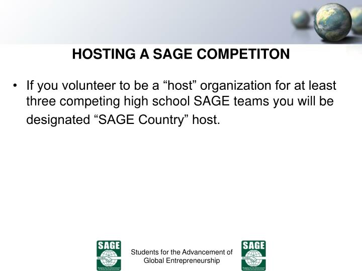 HOSTING A SAGE COMPETITON