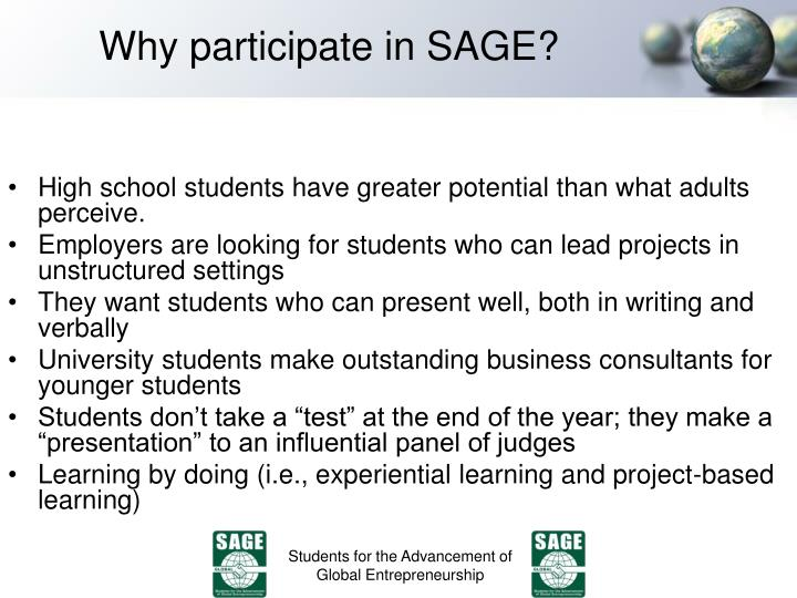 Why participate in SAGE?