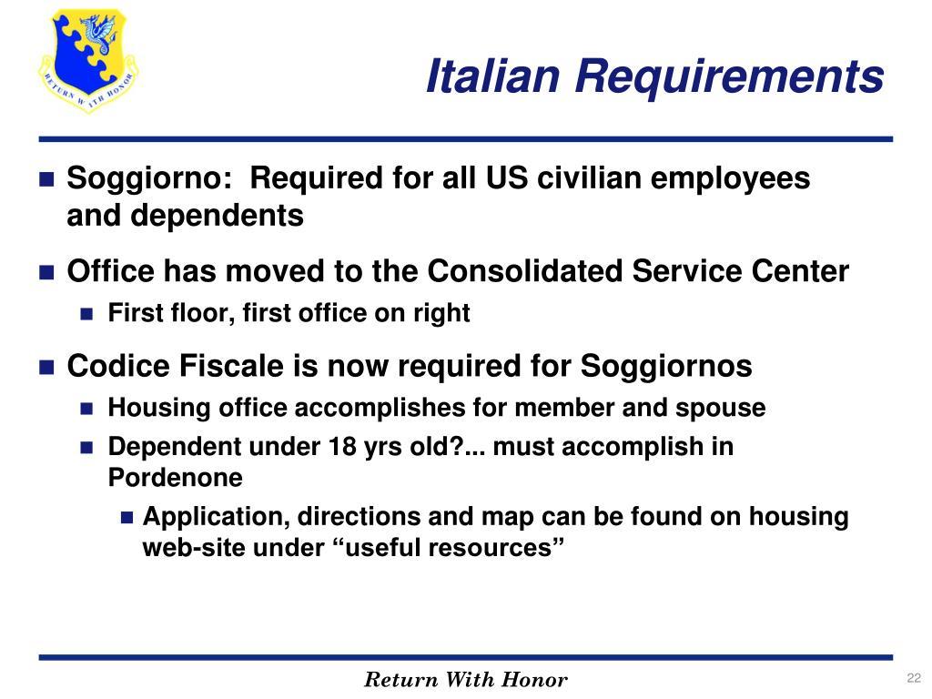 Italian Requirements