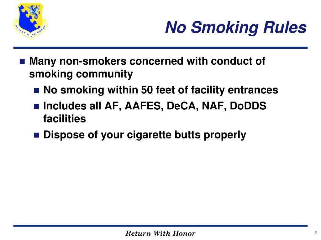 No Smoking Rules