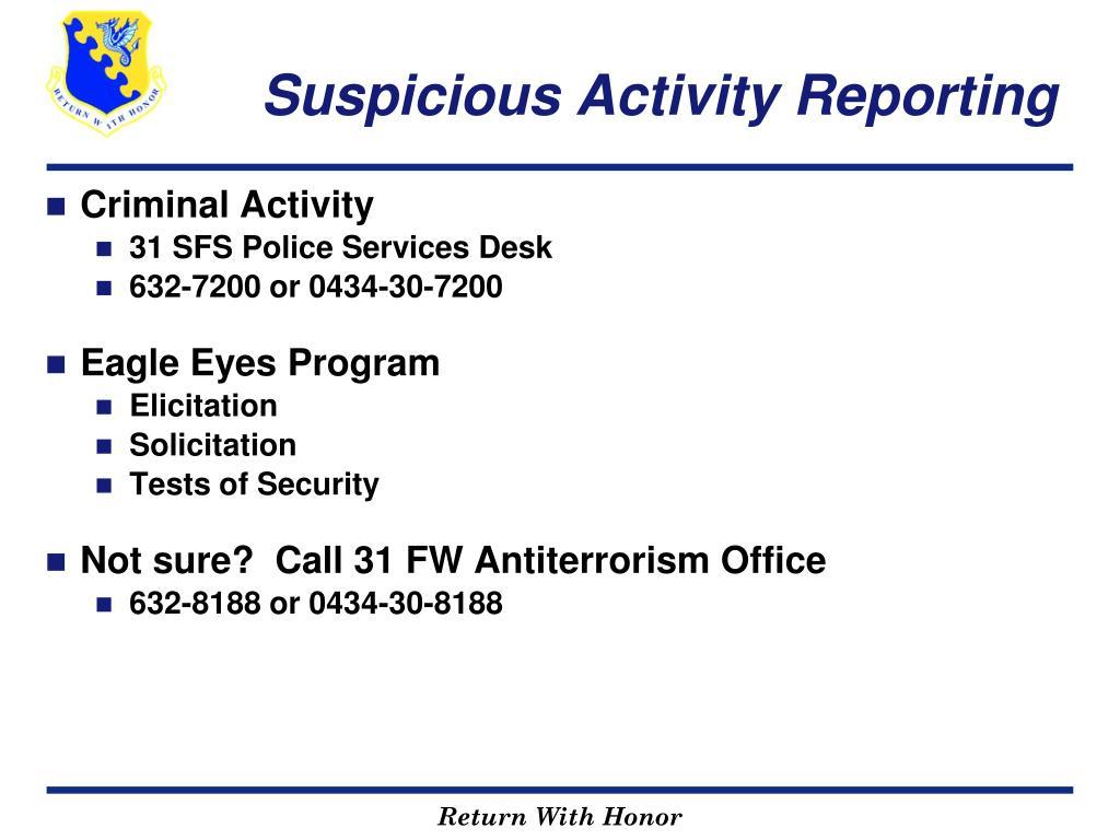 Suspicious Activity Reporting