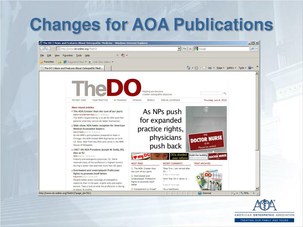 Changes for AOA Publications