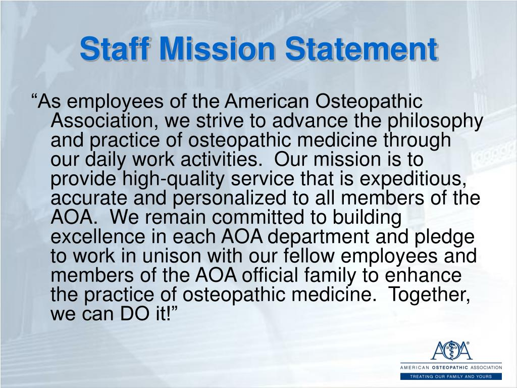 Staff Mission Statement