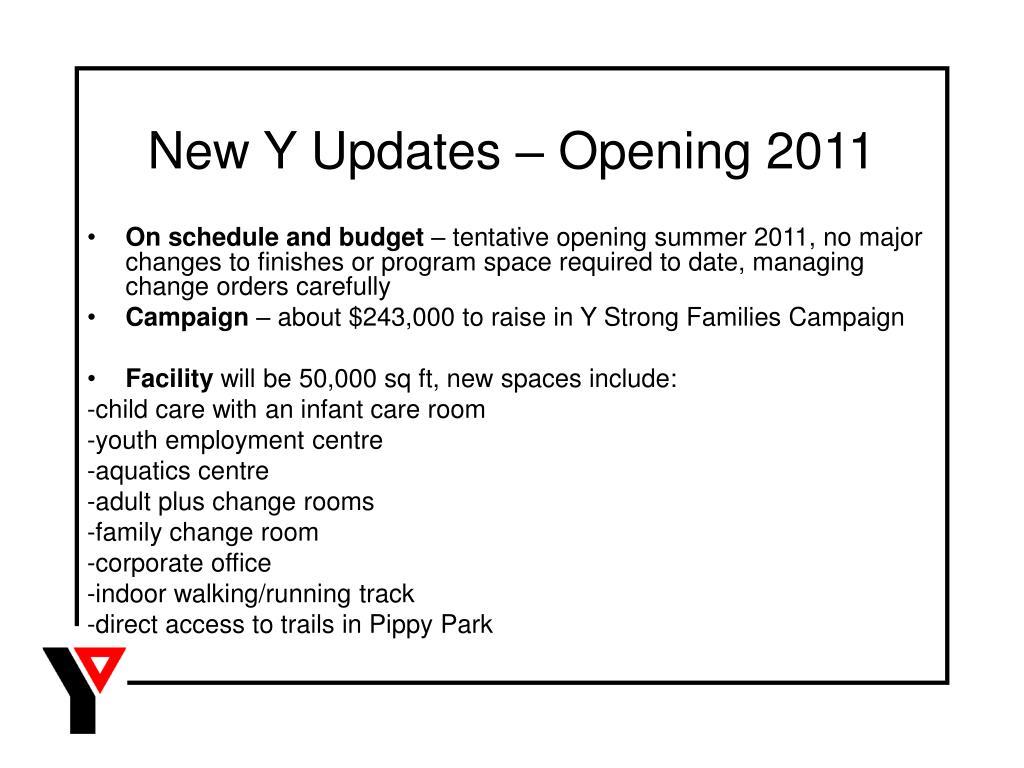 New Y Updates – Opening 2011