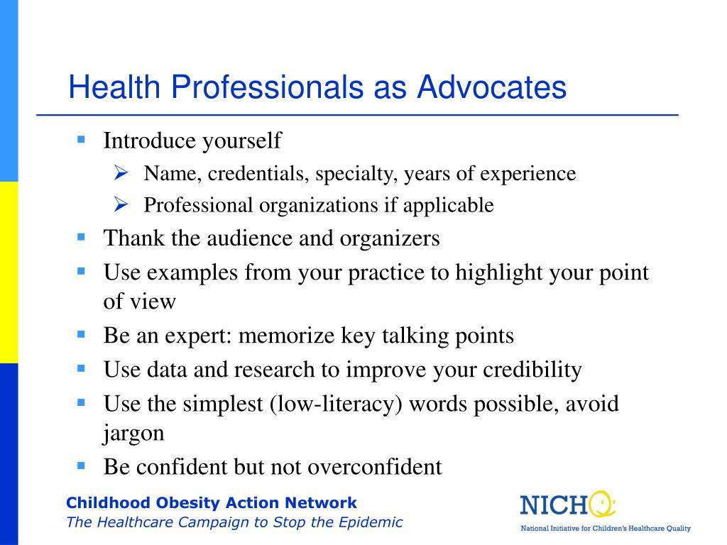 Health Professionals as Advocates