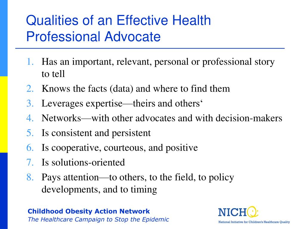 Qualities of an Effective Health Professional Advocate