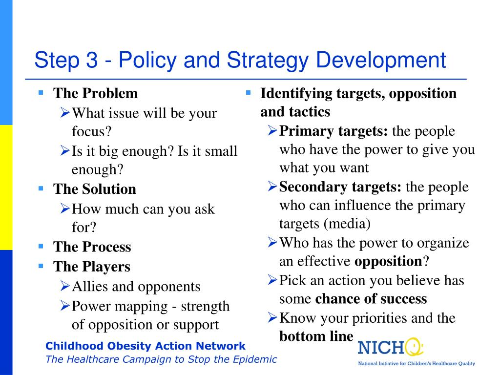 Step 3 - Policy and Strategy Development