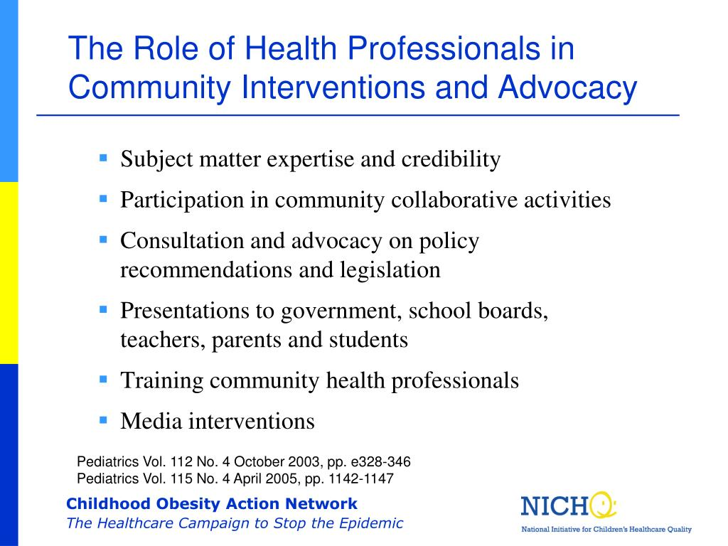 The Role of Health Professionals in Community Interventions and Advocacy