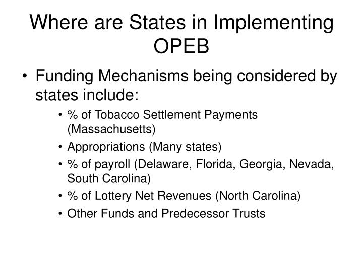 Where are states in implementing opeb3 l.jpg