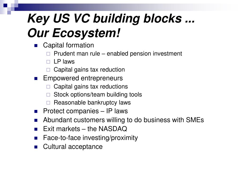 Key US VC building blocks ...