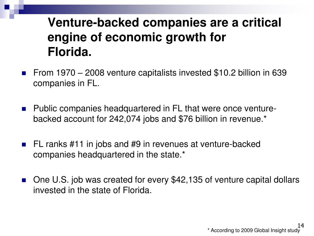 Venture-backed companies are a critical engine of economic growth for