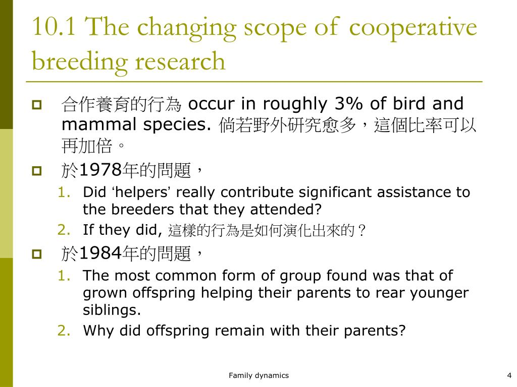 10.1 The changing scope of cooperative breeding research