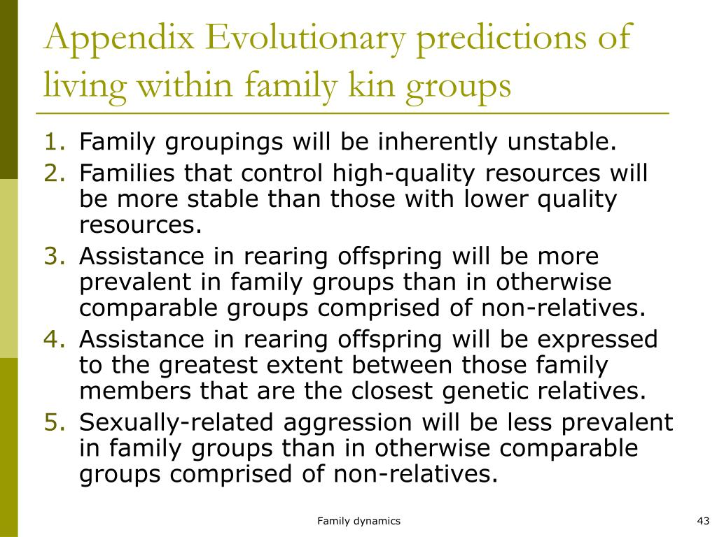 Appendix Evolutionary predictions of living within family kin groups