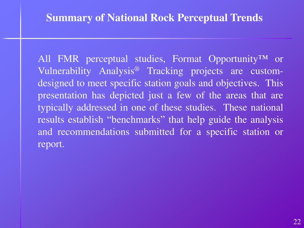Summary of National Rock Perceptual Trends