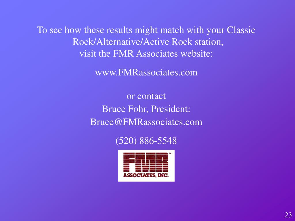 To see how these results might match with your Classic Rock/Alternative/Active Rock station,